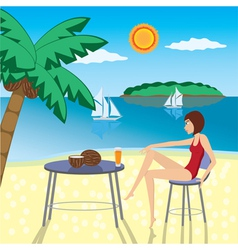 Girl at the beach vector image