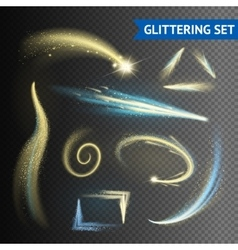 Gold glittering elements vector