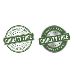 Grunge stamp and silver label cruelty free vector