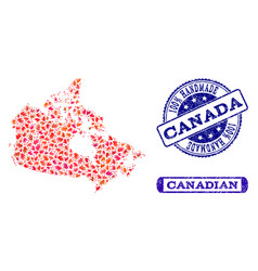 handmade composition of map of canada and textured vector image