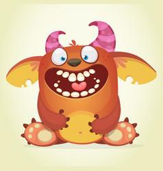 happy cartoon fluffy monster vector image