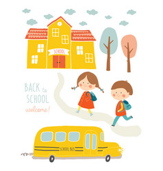 happy first day of school card design kids going vector image