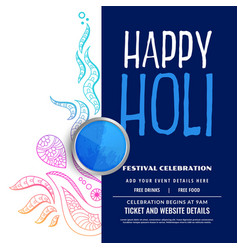 happy holi party celebration decoration background vector image