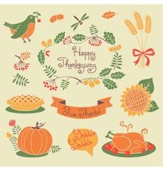 happy thanksgiving set elements for design vector image