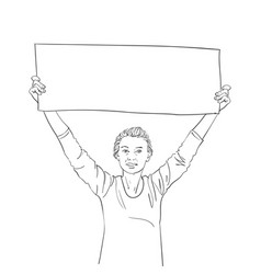 happy woman showing blank long banner in hands vector image