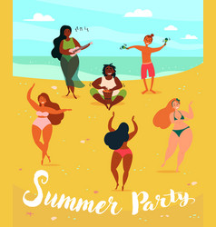 Hawaii musical summer party hula and ukulele vector