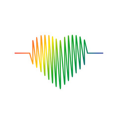 Heart cardiogram icon heart color symbol vector