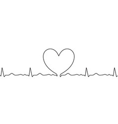 heart sketch on heartbeat pulse in doodle hand vector image