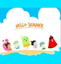 hello summer multicultural cute kids template vector image