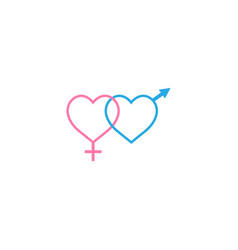 heterosexual like hearts solid icon vector image