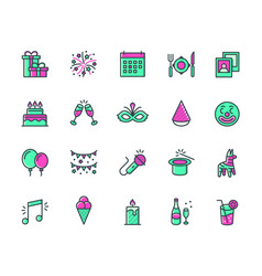 holiday festival and party icon set in colored vector image