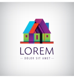 house geometric building icon logo vector image