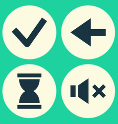 Interface icons set collection of done silence vector