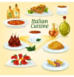 Italian cuisine popular dishes icon vector