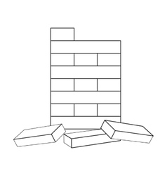 Jenga icon in outline style isolated on white vector