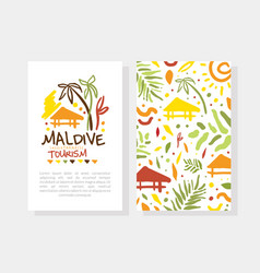 maldive summer paradise tourism card template with vector image
