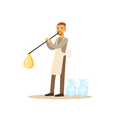 Man blowing glass vessel glass blower craft hobby vector
