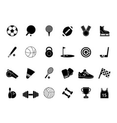 Monochrome black sport symbols pictures vector