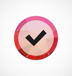 Ok circle pink triangle background icon vector