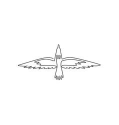 One single line drawing cute albatross vector