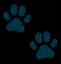 paw footprints composition icon of halftone vector image