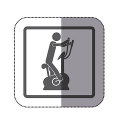 Person exercising on a machine icon vector