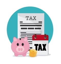 Piggy and document icon Tax and Financial item vector image
