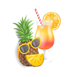 pineapple summer cocktail set vector image