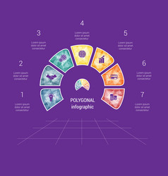 Polygonal semicircle template infographic 7 vector