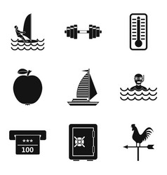 Pond icons set simple style vector