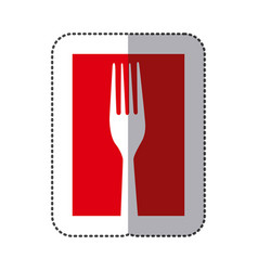 Red fork cutlery icon vector