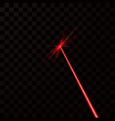 red laser beam red light ray isolated on dark vector image