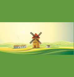 Rural landscape with windmills and houses vector