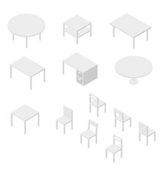 set of furniture chairs and tables isometric vector image