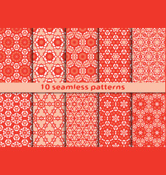 Set of ten geometric seamless patterns vector
