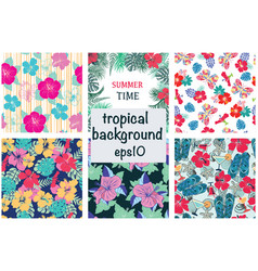 set seamless decorative pattern with hibiscus vector image