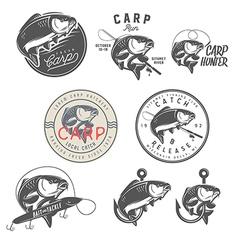 set vintage carp fishing design elements vector image