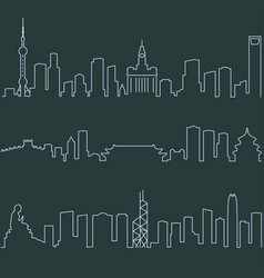 shanghai beijing and hong kong single line vector image