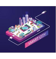 Smart city isometric artwork concept vector