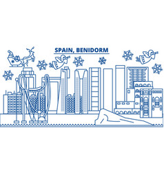 spain benidorm winter city skyline merry vector image