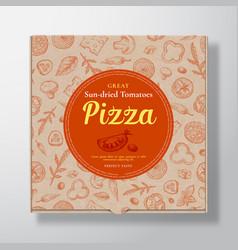 Sun dried tomato pizza realistic cardboard box vector