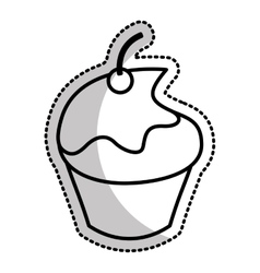 sweet and delicious cupcake icon vector image