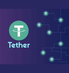 Tether cryptocurrency networking background style vector