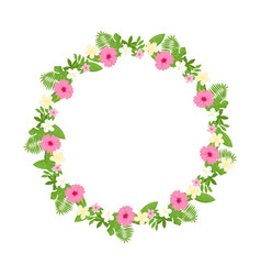 tropical floral wreath frame isolated vector image