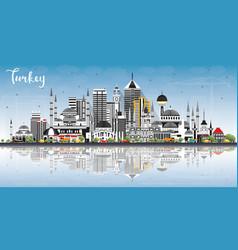 turkey city skyline with gray buildings blue sky vector image