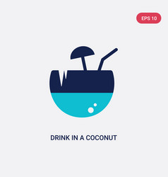 two color drink in a coconut icon from food vector image