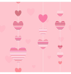 valentine pattern with striped hearts vector image