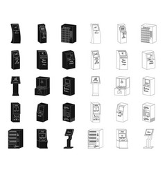 variety of terminals blackoutline icons in set vector image