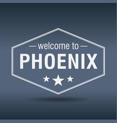 welcome to phoenix hexagonal white vintage label vector image