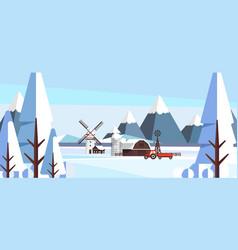 Winter landscape in flat style vector